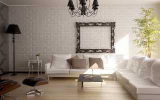 Сочетание обоев и кирпичной стены в интерьере