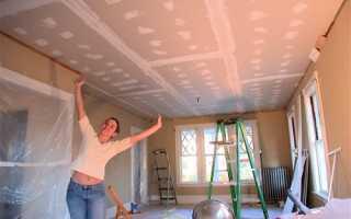 Монтаж гипсокартона на потолок без каркаса