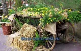 Сборка декоративной телеги для сада своими руками