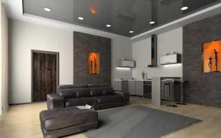 Применение в интерьере серого потолка