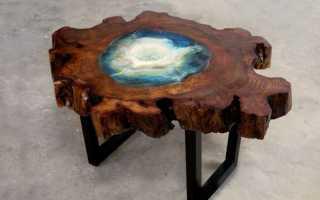 Интересный проект стола со среза дерева и эпоксидки
