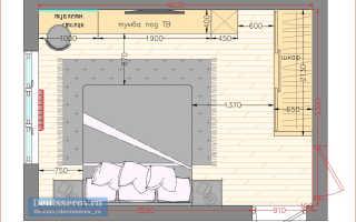 Планировка спальни площадью 15 кв